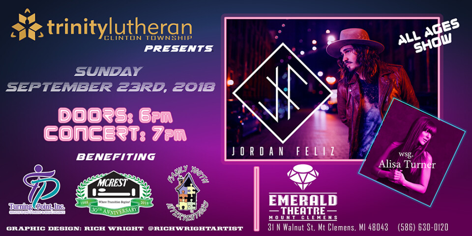 Trinity Benefit Concert Featuring Jordan Feliz and Alisa Turner